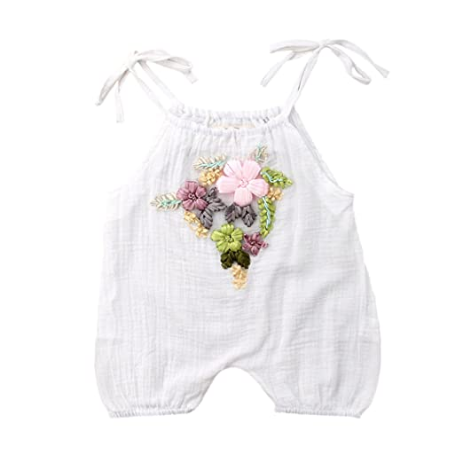 cb69728cc Amazon.com  WINAGAINER Toddler Baby Girl Embroidery Straps Romper ...