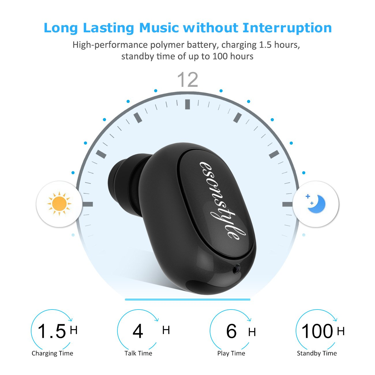 Esonstyle Wireless Mini Bluetooth Earbud,Support Hands-free Calling,Car Bluetooth Headset for Iphone Samsung Android all Cellphones (Black)