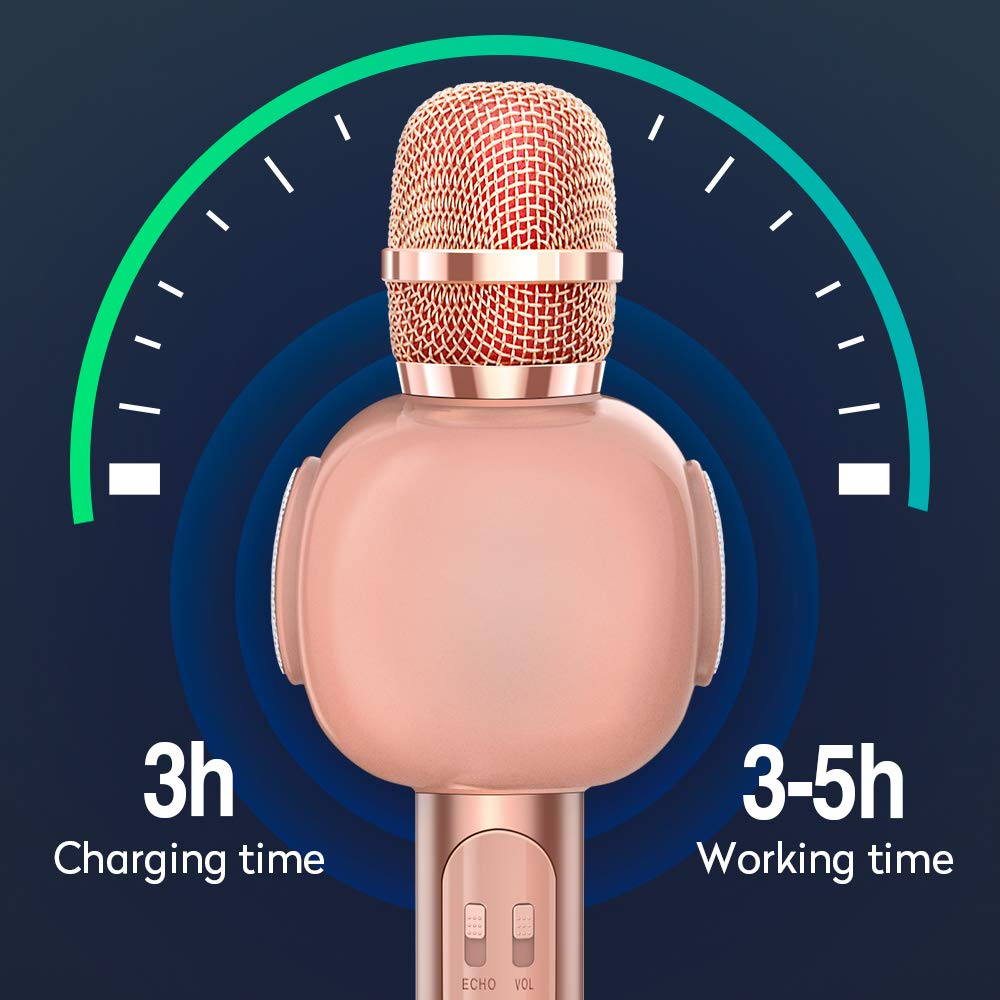KVDUKOA Karaoke Microphone, Portable Handheld Wireless Bluetooth Karaoke Mic Machine for Home, Party, Birthday Gifts and Kids Girls Toy (Rose Gold) by KVDUKOA (Image #4)
