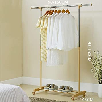 Amazon Com Metal Coat Racks Stainless Steel Adjustable Horizontal Bar Clothes Stand Drying Rack Simple Floorstanding Can Be Placed Balcony Clothes Hanger Color 1 Furniture Decor