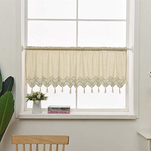 ZHH Handmade Cotton Linen Kitchen Curtain Crochet Lace Tassel Curtain Window Valance Cafe Curtain, 59 x 12 Inch Beige