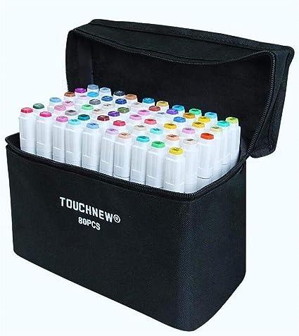 Marbeine - Estuche con 80 rotuladores Touchfive de doble punta de 5ª generación para ilustración, de Touchnew, color blanco: Amazon.es: Oficina y papelería