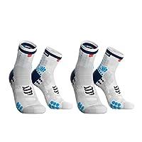 Compressport 中性 两双装马拉松越野跑跑步户外运动袜3D豆豆袜高帮袜V3.0版 CS-RSHV3