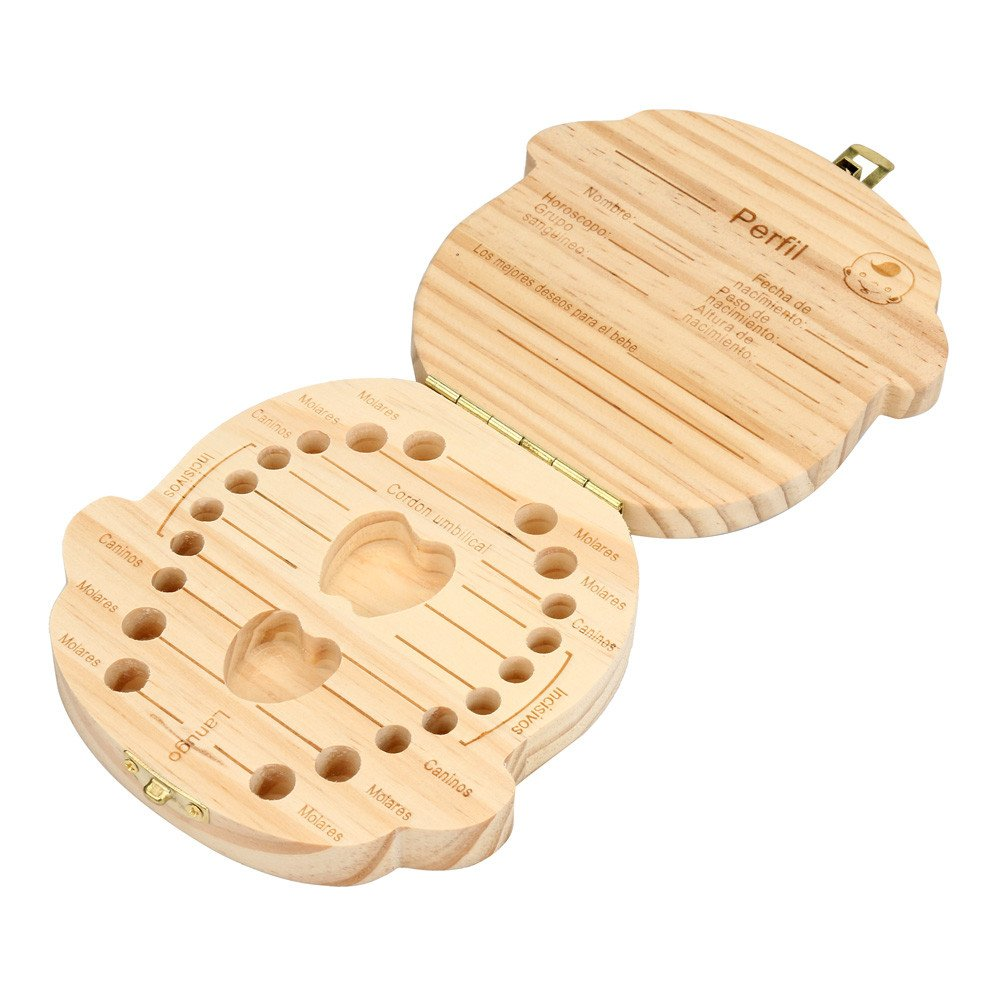 registrar el proceso de crecimiento del beb/é Holacha Caja de almacenaje de madera de leche de dientes Organizador imagen de ni/ña Caja de dientes para bebes