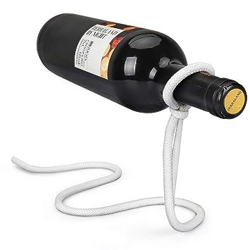Yobansa Magic cuerda flotante de metal para botella de vino soporte de dispensador de vino para bares, decoración del hogar blanco: Amazon.es: Hogar