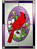 Red CARDINAL Art Glass WINDOW 10 x 14 BIRD GARDEN Flower Suncatcher