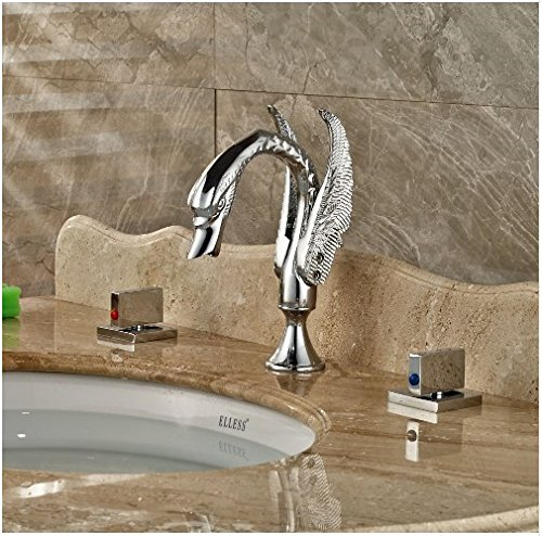 Gowe Luxury Brass Basin Faucet Chrome Finish Shower Set Deck Mounted Swivel Spout Mixer Tap