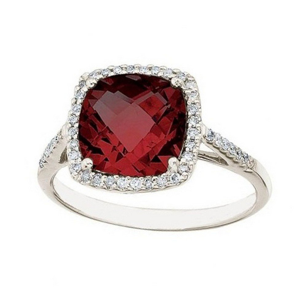 Cushion -Cut Garnet and Diamond Cocktail Ring 14k White Gold (3.70cttw) by Allurez