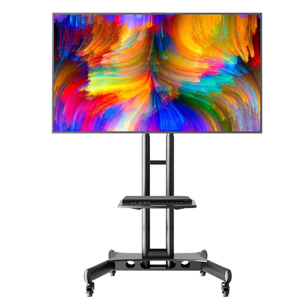 テレビスタンド 収納付きモバイルTVスタンド、32/42/43/49/50/55/65インチLED LCDフラットスクリーンテレビ用ブラック調節可能な背の高いテレビフロアスタンド、荷重45.5kg B07SRXG8TP