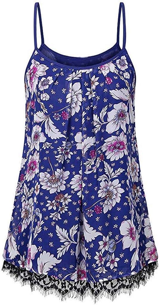 HighlifeS/_Women Tank Top Summer Loose Chiffon O-Neck Sleeveless Print Lace Cami Basic Camisole Tank Top Vest