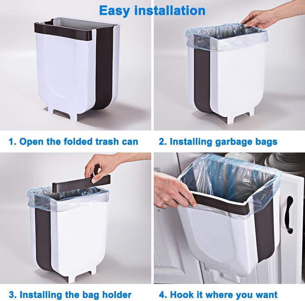 Sefes Cubo Basura Plegable para la Cocina 9L,Bote Basura Reciclaje,hogar,Dormitorio,Cocina,Almacenamiento