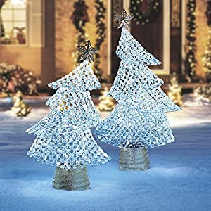 2 pack shimmering whimsical christmas tree set lighted outdoor yard porch decor
