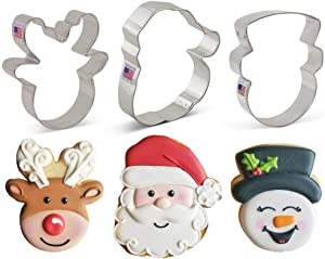 Ann Clark Cookie Cutters 3-Piece Faces of Christmas Cookie Cutter Set with Recipe Booklet, Santa Face, Reindeer Face and Snowman Face