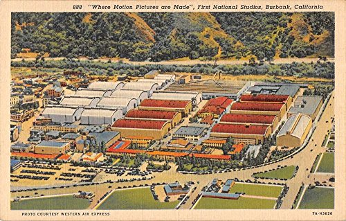 First National Studios - Burbank California First National Studios Birdseye View Antique Postcard K36406
