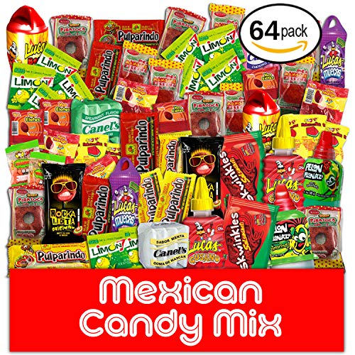 Mexican Candy Assortment Snacks (64 Count), Variety Of Spicy Bulk Candies Dulces Mexicanos, Includes Lucas Candy, Pelon Rico, Vero Mango Lollipop, Rebanaditas, Pulparindo Makes A Great Gift By MTC.
