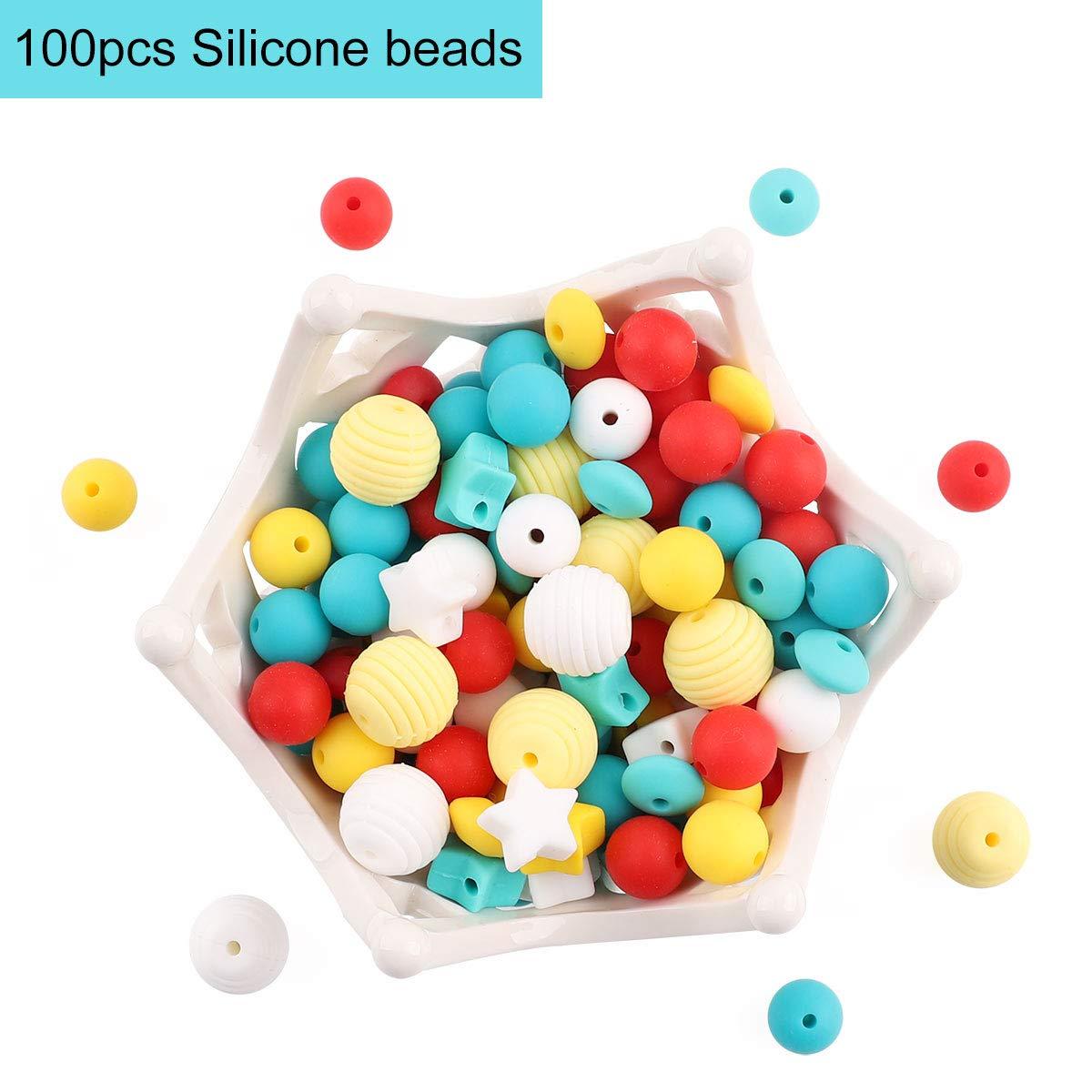 lets make 100pc Silikon Bei/ßring Perlen Lebensmittelqualit/ät Pflegezubeh/ör Gelbe Serie DIY Halskette//Armband Baby Schnullerkette Schmuck Kinderkrankheiten Spielzeug