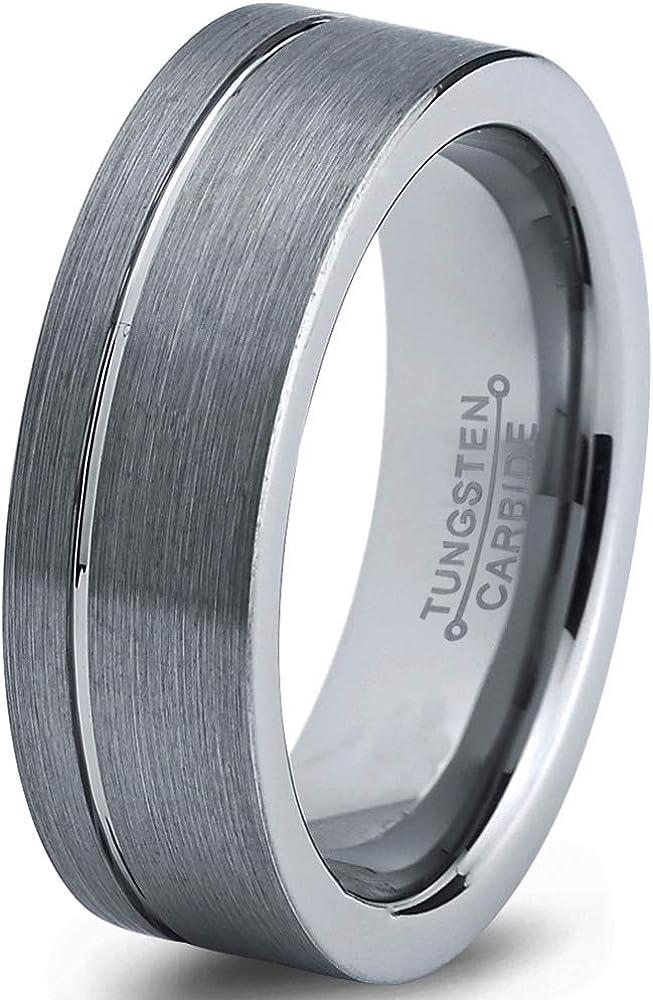 Charming Jewelers Tungsten Wedding Band Ring 6mm Men Women Comfort Fit 18k Yellow Gold Grey Flat Cut Brushed Polished