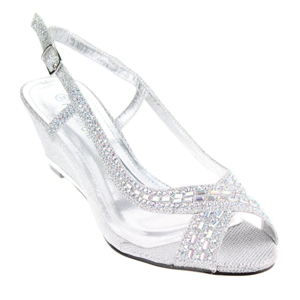 e8cbb49bf349 Aarz Women Ladies Evening Wedge Heel Diamante Sandals Party Wedding Bridal  Shoes Size(Gold