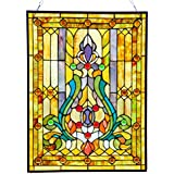 """River of Goods 8225 25"""" Fleur De Lis Tiffany Style Stained Glass Window/Wall Panel"""