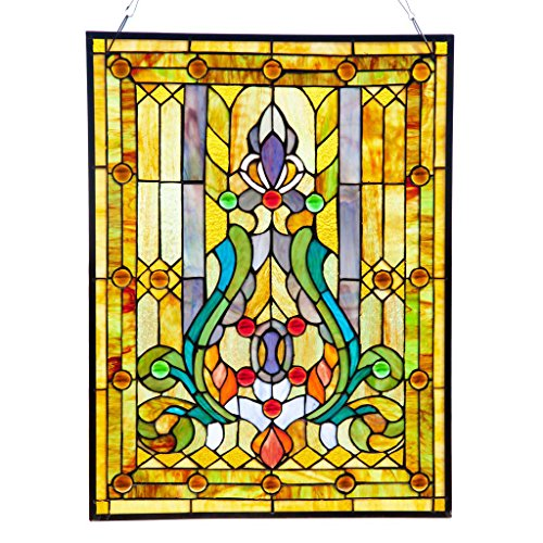 Fleur de Lis Stained Glass Panel: 24.75 Inch Decorative Tiffany Style Window Hanging - Large Framed Vertical Floral Hangings for the Wall or Windows with Blue, Purple, Green and Red Accents (Framed Iris Purple)