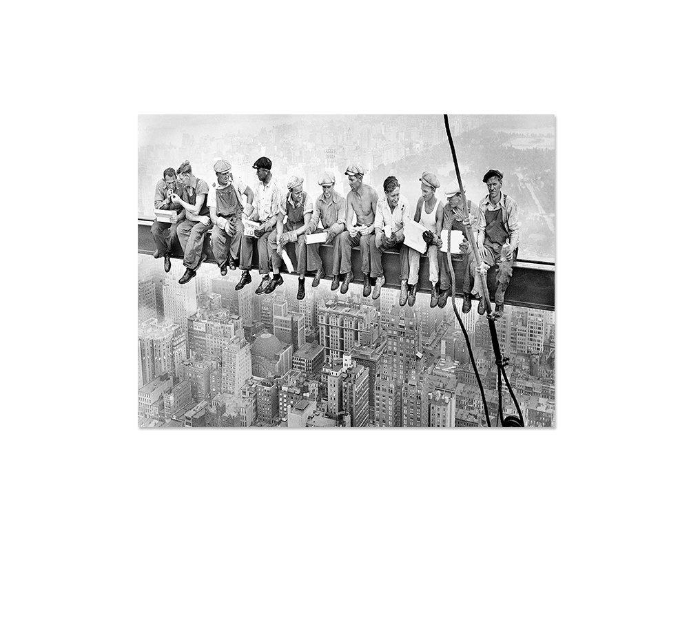 Lunch atop a Skyscraper Bild auf Leinwand Leinwandbild Panorama Skylunch Keilrahmenbild Retro Foto Bauarbeiter Mittagspause auf einem Wolkenkratzer 80x60cm