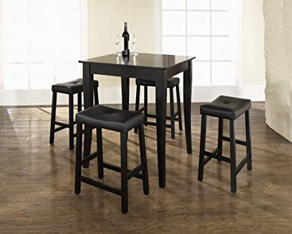 Surprising Crosley 5 Piece Pub Dining Set With Cabriole Leg And Upholstered Saddle Stools Black Finish Lamtechconsult Wood Chair Design Ideas Lamtechconsultcom