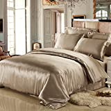 Bed Larger Than California King LilySilk 4Pcs Real Silk Bedding Sheets Flat Sheet Fitted Sheet Oxford Pillowcases Set 19 Momme Pure Silk Taupe King