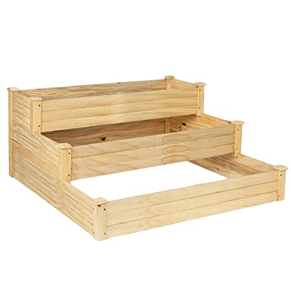 Vingli Upgraded Heavy Duty Raised Garden Bed Kit 3 Tier Pine Wood Elevated Planter For Vegetables Fruits Potato Onion Flower Outdoor Sturdy Long