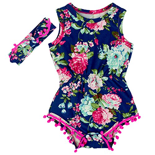 Anbaby Gilrs Broken Flower Romper Climbing Clothes with A Headband Red+Blue 0-6Months