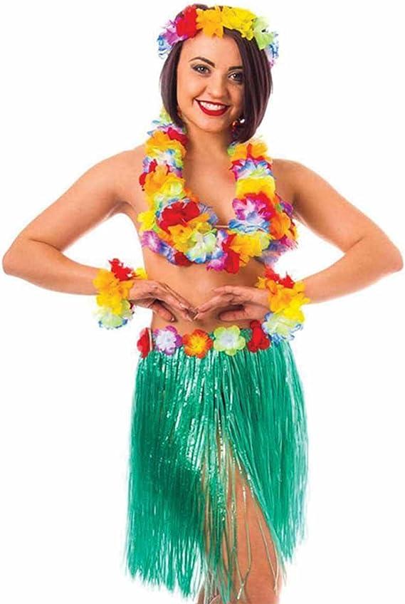 Hawaiian Grass Skirt Flower Hula Fancy Dress Adult Costume Summer Beach Party UW