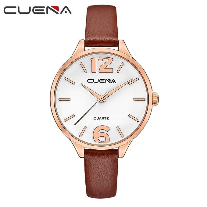 CUENA Women Classic Quartz Watch, Business Casual Wrist Watch Waterproof 30M, Three-Hand