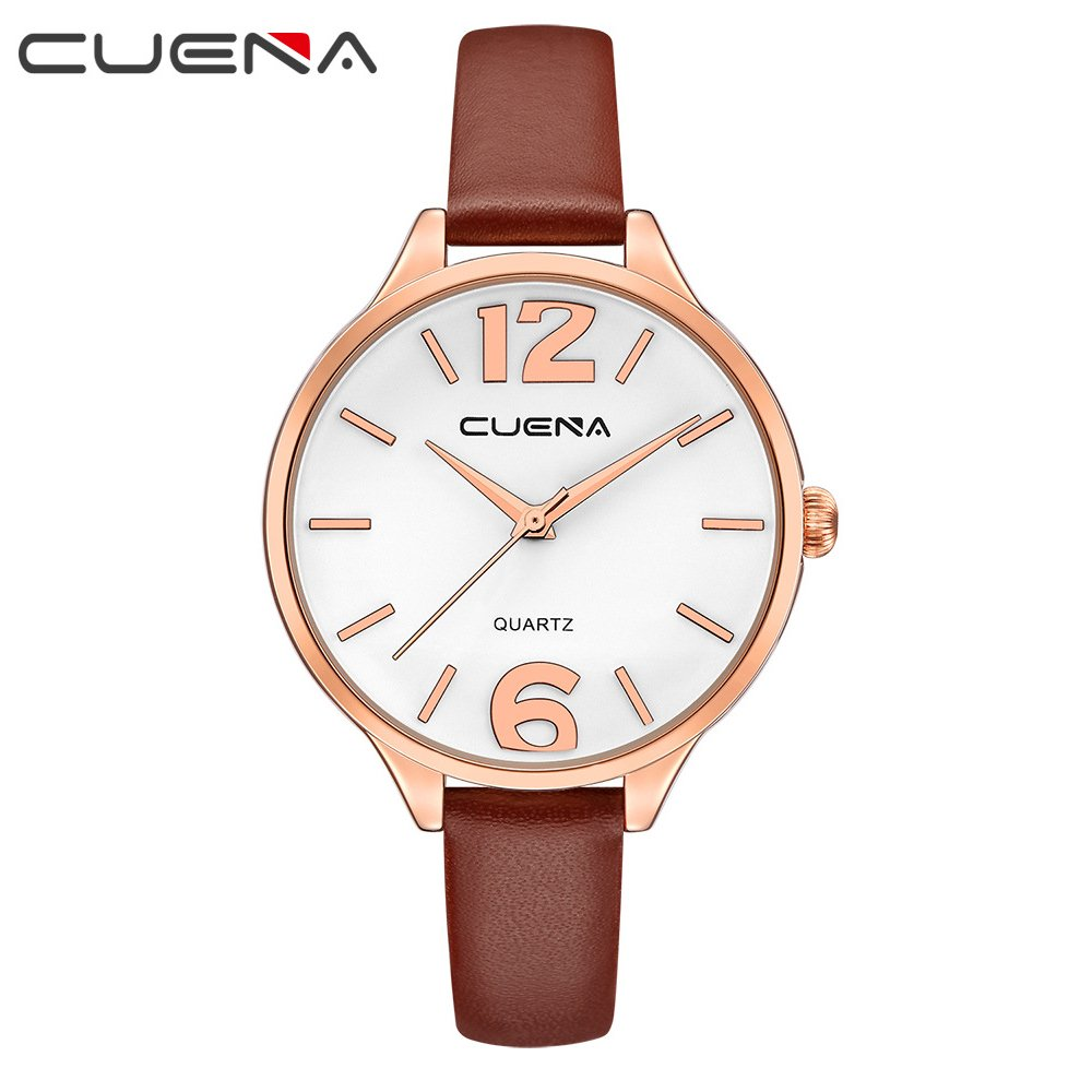 CUENA Women Classic Quartz Watch, Business Casual Wrist Watch Waterproof 30M, Three-hand Movement with Comfortable Leather Band