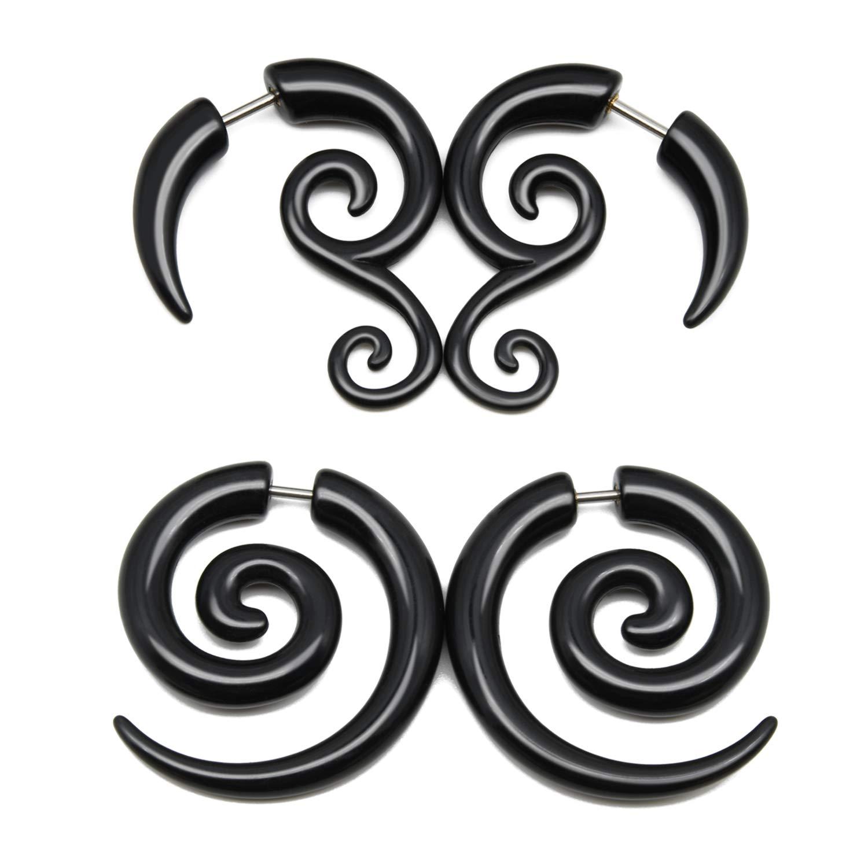Piercing Ohrringe Dehnschnecke Spirale Schnecke Horn schwarz