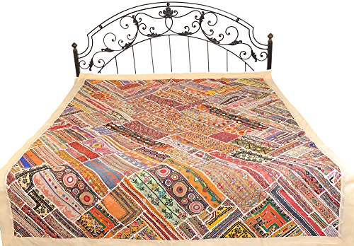 Alabaster-Gleam Rabari Embroidered Bedspread from Sindh with Patchwork and Mirrors - Pure Cotton by Exotic India