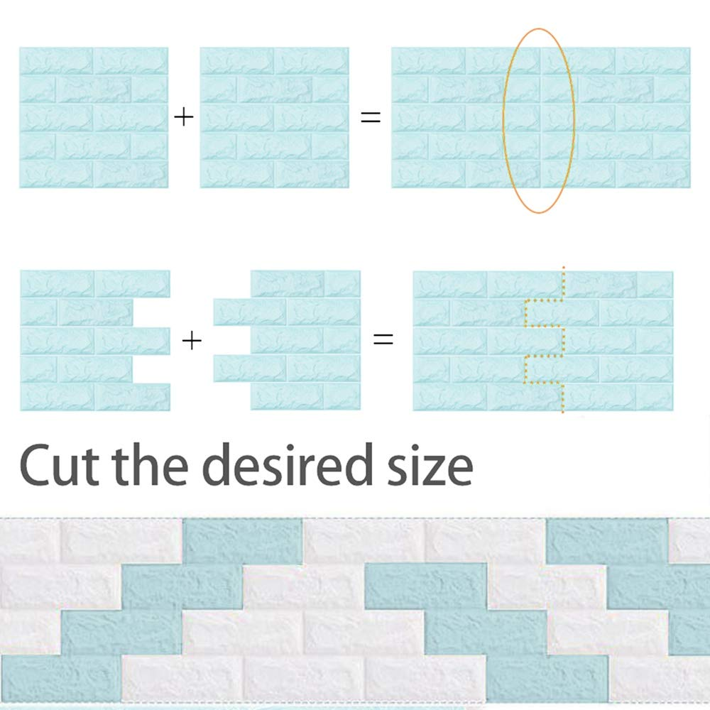 5 piezas Ladrillo Blanco 3D Papel tapiz de ladrillo repique extra/íble y pegatina de pared de espuma PE para sala de estar