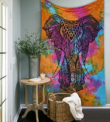 Popular Handicrafts Rainbow Tye dye Elephant Tapestries Psychedelic Wall Hanging Elephant Tapestry Hippie Tapestry Wall Tapestries Bohemian Tapestries Indian Tapestry Wall Hanging