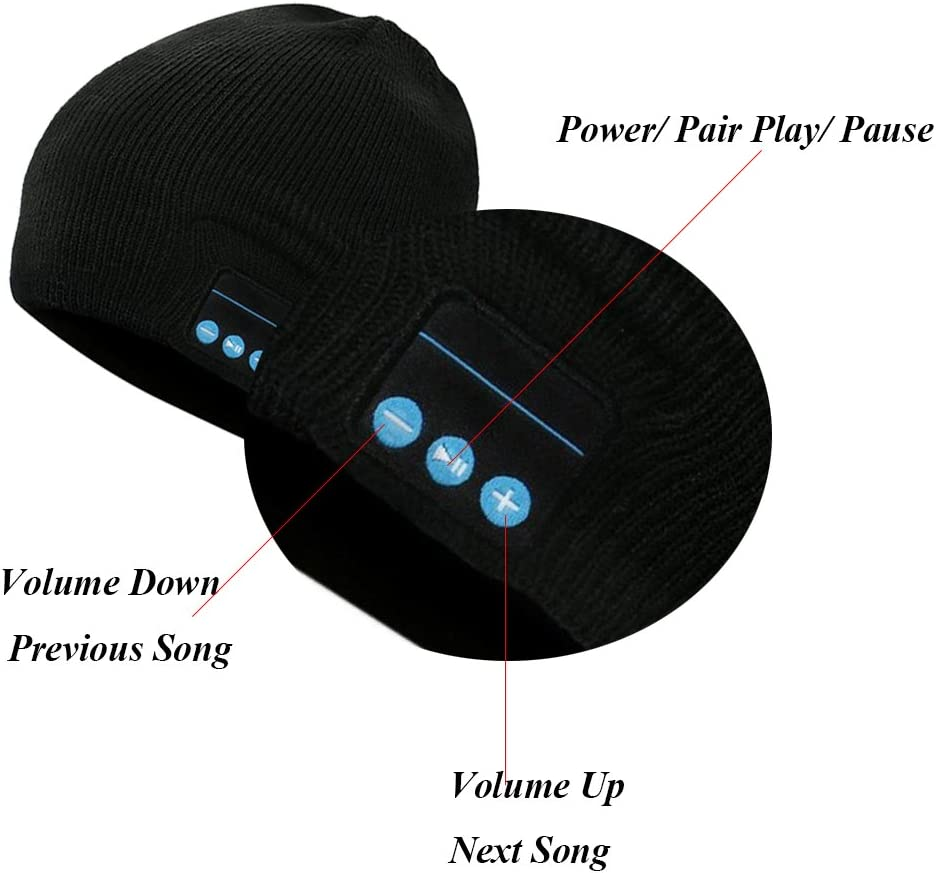 Gorra de Punto Invierno Compatible con m/úsica y Llamadas Gris Oscuro Unisex Bluetooth Gorra Recargable Bluetooth Beanie M/úsica Sombrero con aud/ífono inal/ámbrico Tiempo de Espera hasta 60 Horas