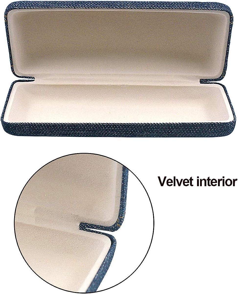 NetsPower /Étui /à lunettes /Étui rigide /Étui /à lunettes Lunettes Sac de protection /Étui /à lunettes avec 2 chiffon de nettoyage pour lunettes grises pour lunettes Style de jeans