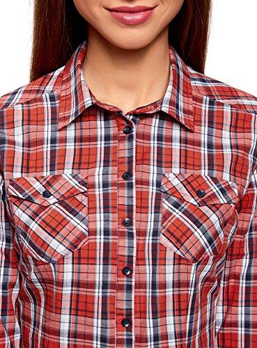 Carreaux 4579c oodji Rouge Chemise en Ultra Femme Coton nXfq0rX