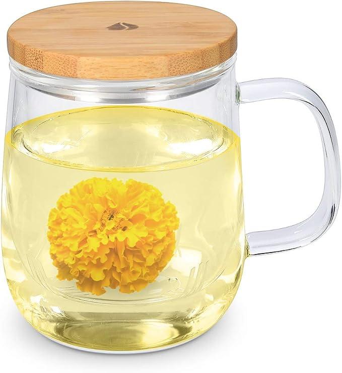 Navaris Taza para té de Vidrio de borosilicato con Filtro y Tapa - Taza para infusión con Filtro de Cristal y Tapa de bambú - 500ML: Amazon.es: Hogar