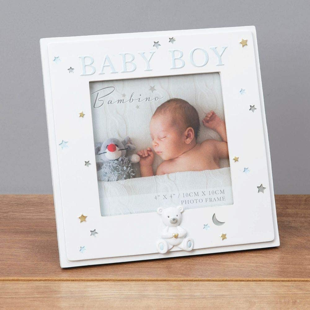 Beautiful Baby Scan Photo Frame With White Border and Silver Writing