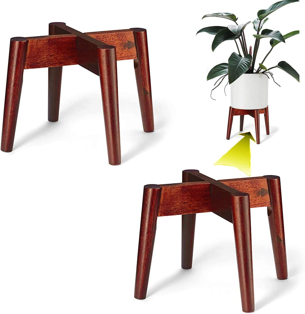 LITADA Plant Stands (Set of 2) Mid Century Modern Plant Stand Indoor (Plant Pot NOT Included) Flower Pot Holder Home Decor, Cherry Color…