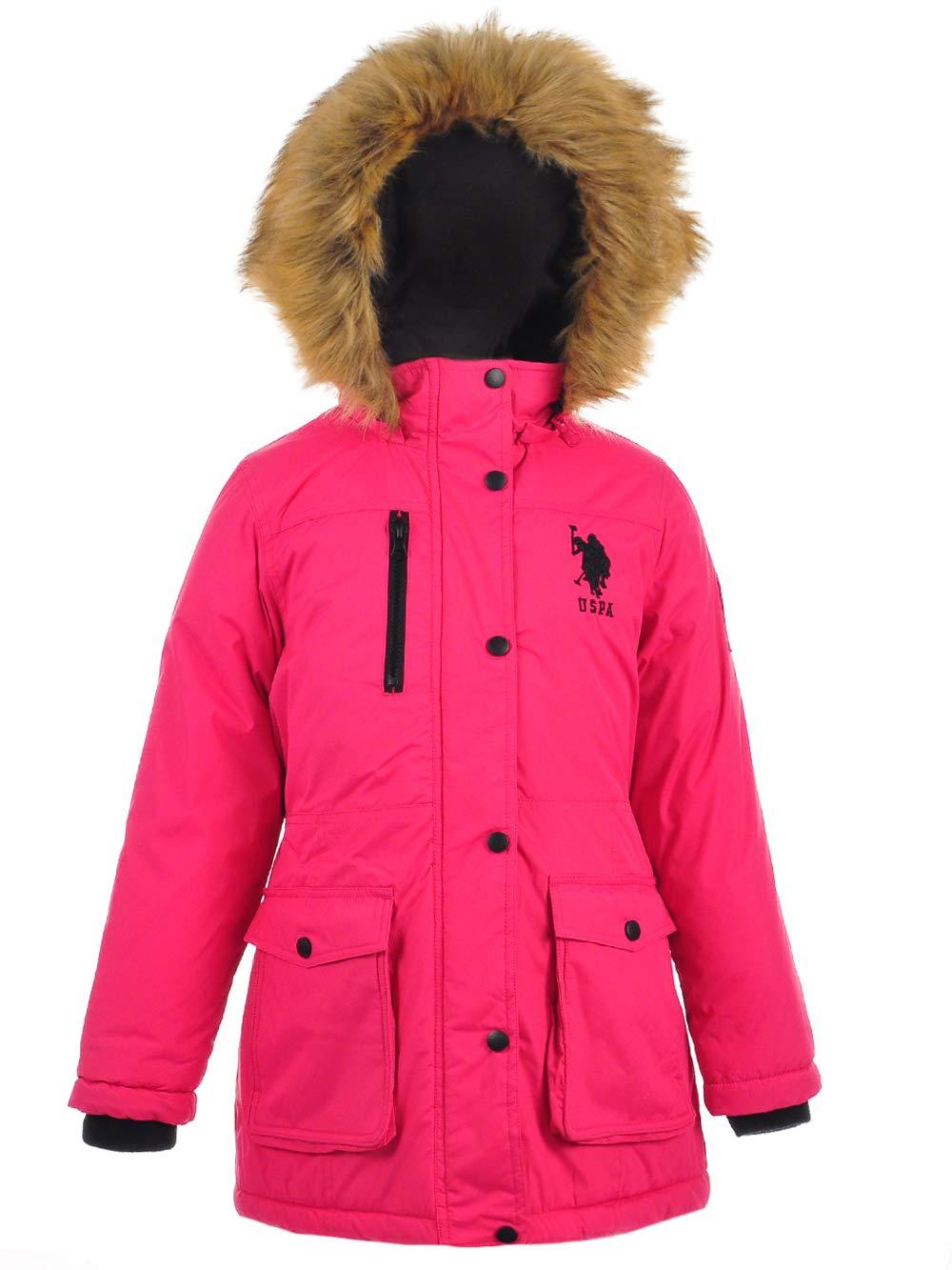 US Polo Association Girls' Big Parka Jacket with Faux Fur Hood, Fuchsia Purple, 10/12