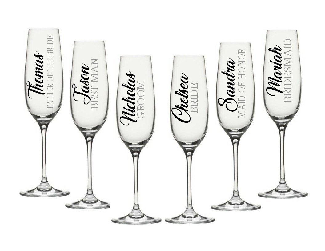 Wedding party decals diy champagne flute decals customize the color name and title decals only perfect for your wine glasses flasks yeti cups