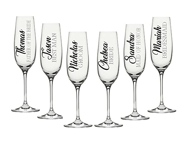 d889c8113fce Champagne Flute Decals. Customize the color, name, and title. Decals Only.  Perfect for your wine glasses, flasks, Yeti cups, bridesmaids gift, water  bottle, ...