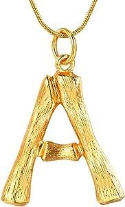 FOCALOOK 26 Letras Iniciales de Bambú Collar Choker Broches Horquillas de Mujeres Joyería Alfabeto de Muchachas Nombres Identificativos