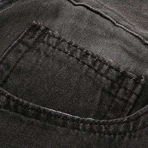 Snap Uomo Jeans Zipper Slim Blu Pantaloni Denim Grau Scuro Biker Rip Strappati Skinny Abbigliamento Da m Sfilacciati qtHx5qwv