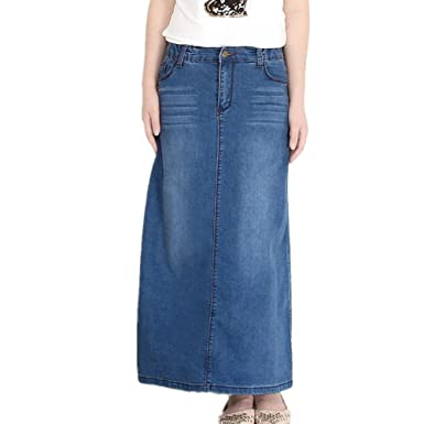 Friendshop Women Long Denim Jean Skirt at Amazon Women's Clothing ...