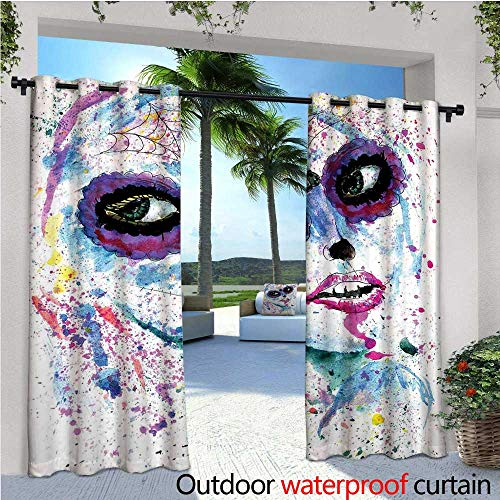 cobeDecor Girls Indoor/Outdoor Single Panel Print Window Curtain Grunge Halloween Lady with Sugar Skull Make Up Creepy Dead Face Gothic Woman Artsy Silver Grommet Top Drape W72 x L96 Blue Purple -