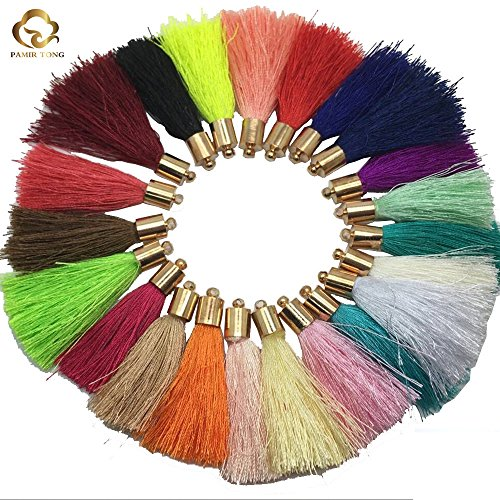 White Silk Tassel (Pamir Tong gold Copper caps--New 50pcs 1.7'' inch Silk Tassel For Earring, Bracelet, Necklace and Keychain Tassel GD50ST176T)